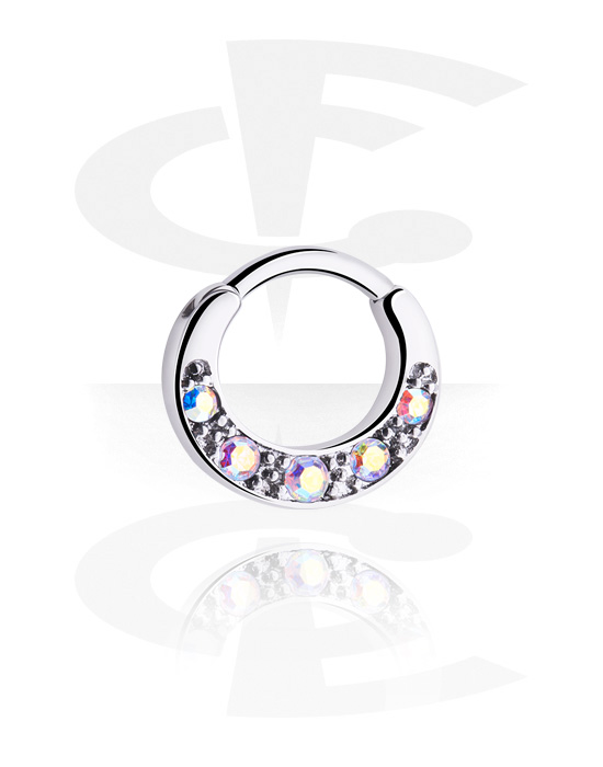 Piercing Rings, Multi-Purpose Clicker with crystal stones, Surgical Steel 316L