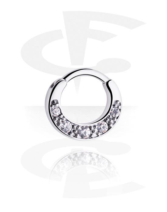Piercingringen, Multifunctionele clicker met kristalsteentjes, Chirurgisch staal 316L