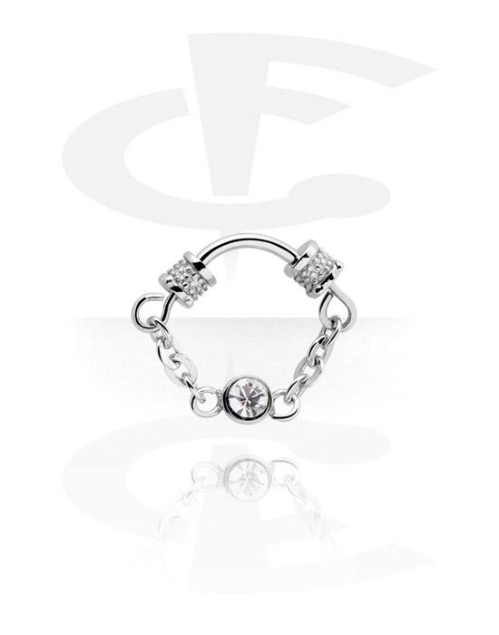 Piercingringen, Multifunctionele clicker met ketting en kristalsteentje, Chirurgisch staal 316L