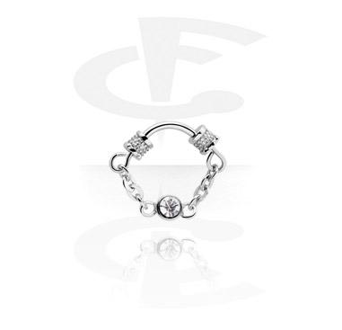 Septum piercing com pedra de cristal