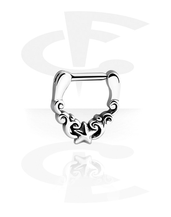 Nose Jewelry & Septums, Septum Clicker with Star, Surgical Steel 316L