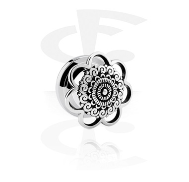 Tunnels & Plugs, Tunnel with Flower Design, Surgical Steel 316L