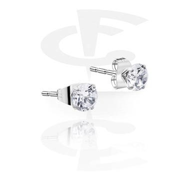 Prong Set Steel Ear Studs (Round)