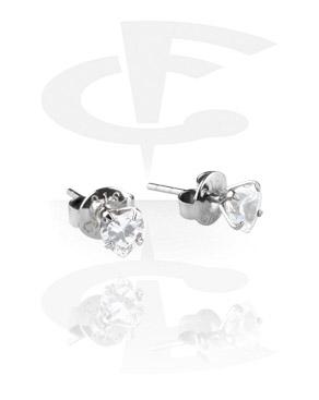 Prong Set Steel Ear Studs (Heart)