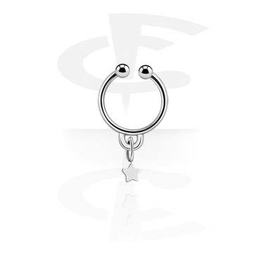 Fake Piercings, Fake septum with star pendant, Surgical Steel 316L