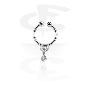 Fake Piercings, Fake septum with flower charm, Surgical Steel 316L