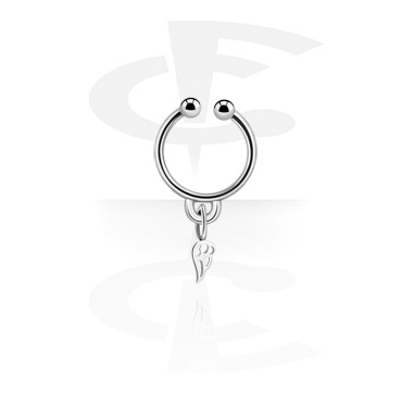 Fake Piercings, Fake septum with wing charm, Surgical Steel 316L