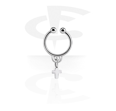 Fake Piercings, Fake septum with cross pendant, Surgical Steel 316L