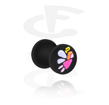 Tunnels & Plugs, Plug with Angel Design, Silicone