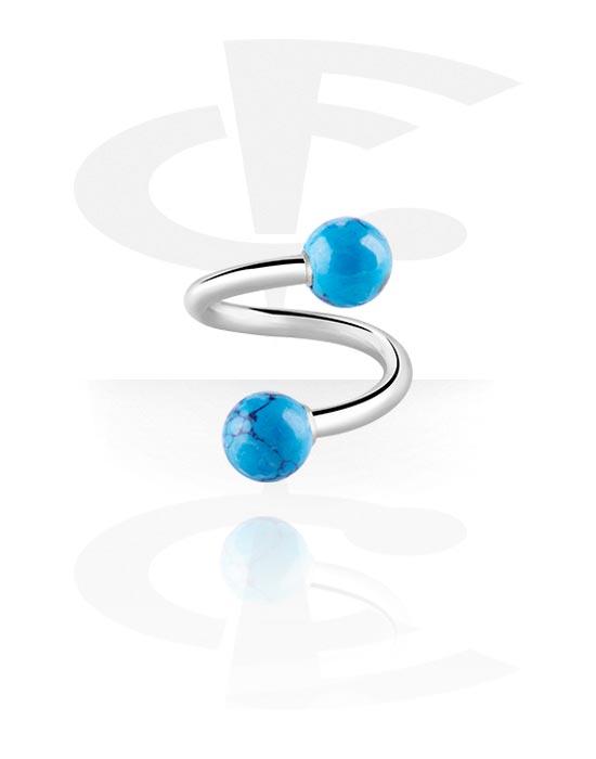 Spiraalikorut, Spiral kanssa Marble Designs, Kirurginteräs 316L, Synteettinen kivi