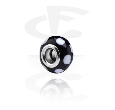 Beads, Glaskula för beadbarmband, Kirurgiskt stål 316L, Glas