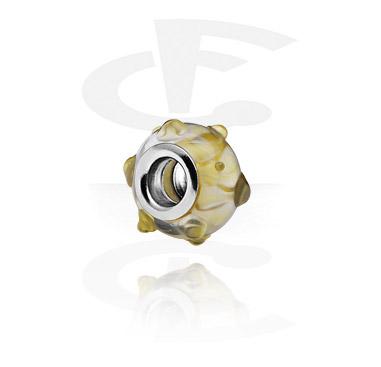 Korálky, Glass Bead for Bead Bracelets, Surgical Steel 316L, Glass
