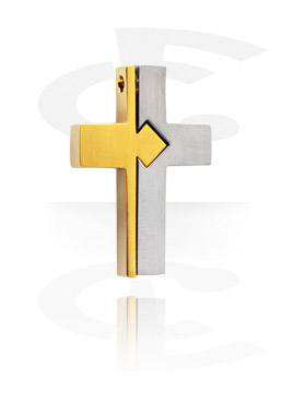 "Pendants, Pendant ""Cross"", Surgical Steel 316L, Gold Plated Surgical Steel 316L"