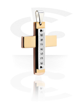 "Pendant ""Cross"" med crystal stones"