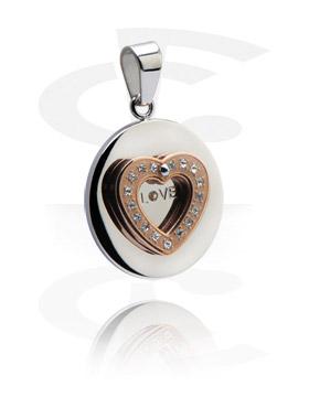 Pendentifs, Pendentif avec Pierres en cristal, Acier chirurgical 316L, Acier chirurgical 316L plaqué or rose