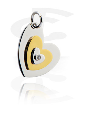 """Pendants, Pendant """"Heart"""" with Crystal Stone, Surgical Steel 316L, Gold Plated Surgical Steel 316L"""
