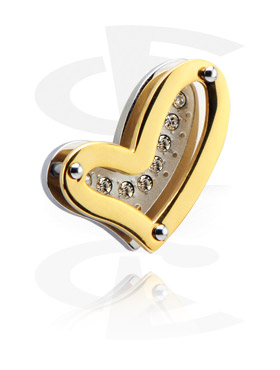 "Riipukset, Pendant ""Heart"", Surgical Steel 316L, Gold Plated Surgical Steel 316L"