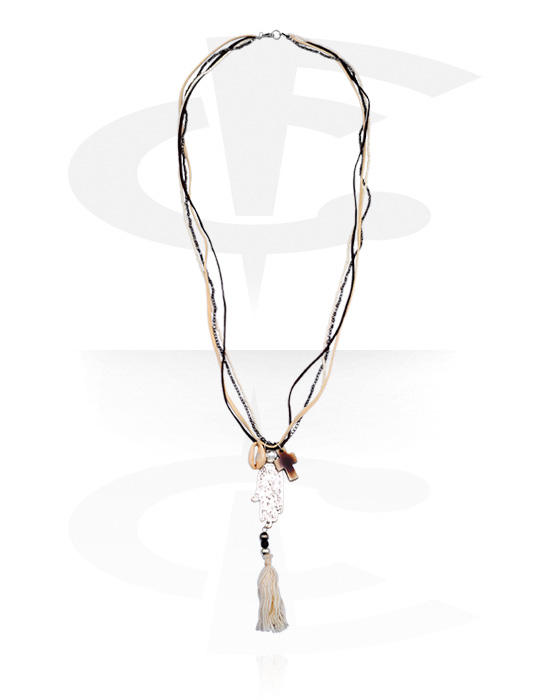 Necklaces, Fashion Necklace, Leather, Coated Steel