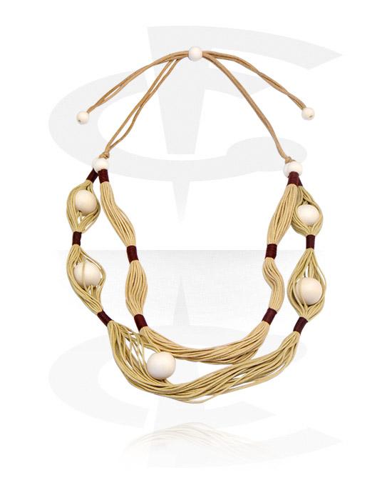 Naszyjniki, Fashion Necklace, Drewno, Bawełna
