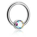 Alke za piercing, Jeweled Ball Closure Ring for Inner Lip Piercing, Titanium