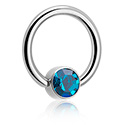 Kółka do piercingu, Jeweled Ball Closure Ring for Inner Lip Piercing, Titanium