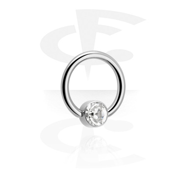 Jeweled Ball Closure Ring for Inner Lip Piercing
