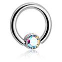 Kółka do piercingu, Jeweled Ball Closure Ring for Inner Lip Piercing, Titanium