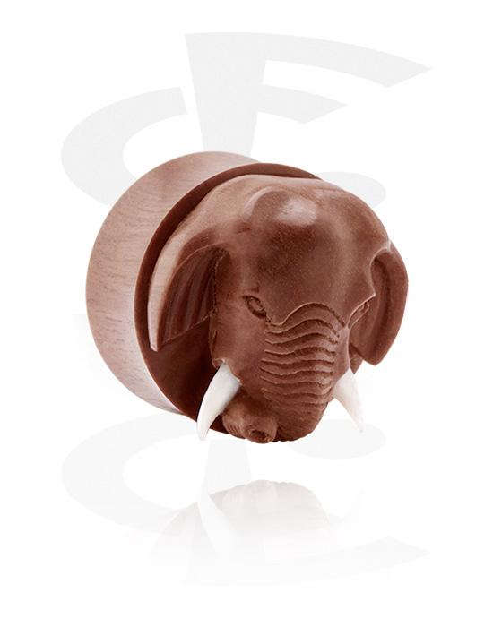 Tunele & plugi, Double Flared Plug z Elephant design, Drewno, Kość