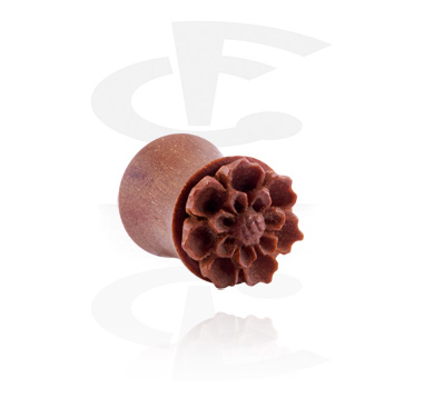Tunnels & Plugs, Double Flared Plug with Flower Design, Wood