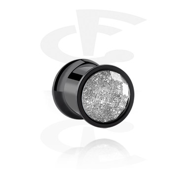 Tunnels & Plugs, Black Double Flared Tunnel, Surgical Steel 316L