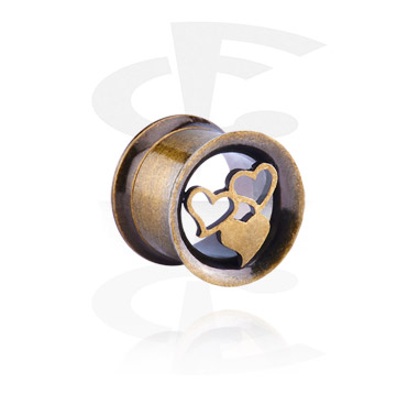 Tunnels & Plugs, Double Flared Tunnel with Heart Design, Surgical Steel 316L