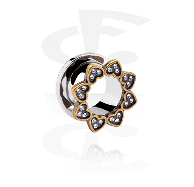Tunnels & Plugs, Tunnel with Heart Design, Surgical Steel 316L