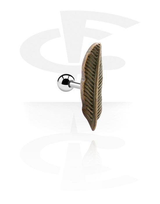 Helix / Tragus, Tragus Piercing s antique gold attachment, Chirurgická ocel 316L