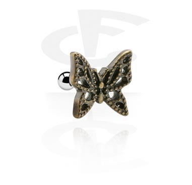 Helix / Tragus, Tragus Piercing with butterfly attachment, Surgical Steel 316L