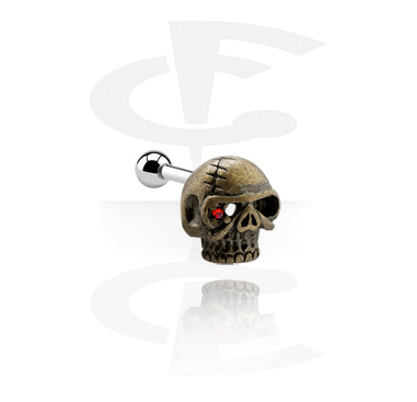 Helix / Tragus, Tragus Piercing with skull attachment, Surgical Steel 316L