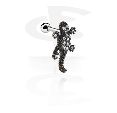 Helix / Tragus, Piercing para el tragus con Accesorio lagarto, Acero quirúrgico 316L