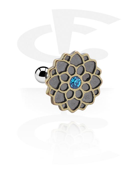 Helix / Tragus, Tragus Piercing s antique gold attachment a crystal stone, Chirurgická ocel 316L