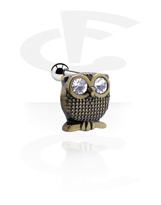 Helix / Tragus, Tragus piercing con antique gold attachment e brillantino, Acciaio chirurgico 316L