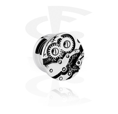 Tunnels & Plugs, Tunnel with Steampunk Design, Surgical Steel 316L