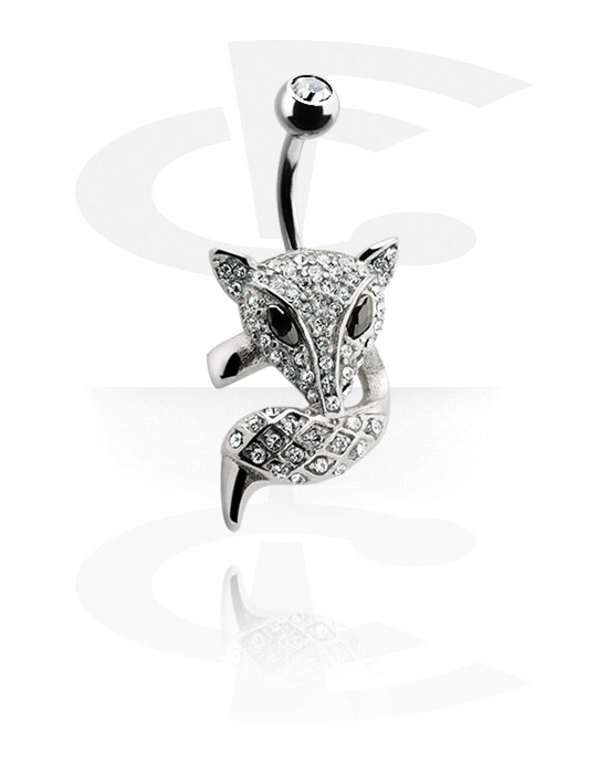 Banany, Banana with jeweled Fox<br/>[Surgical Steel 316L], Surgical Steel 316L