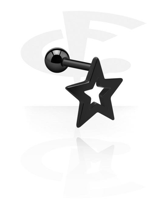Helix / Tragus, Tragus Piercing z star design, Stal chirurgiczna 316L