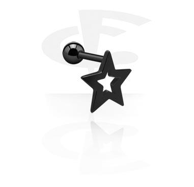 Helix / Tragus, Traguspiercing med stjärna, Kirurgiskt stål 316L