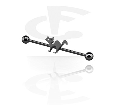 Black Industrial Barbell with cat attachment