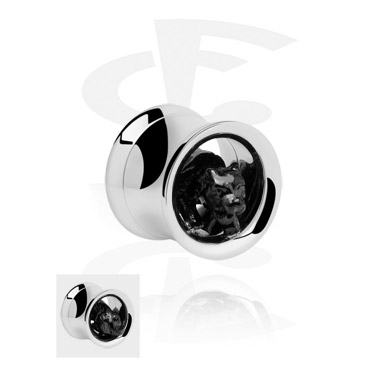Tunnels & Plugs, Double Flared Tube with 3D Motif, Surgical Steel 316L