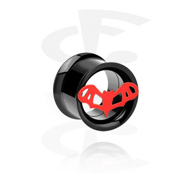 Tunnels & Plugs, Double flared tunnel noir, Acier chirurgical 316L