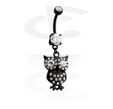 Banany, Black Banana with Owl Charm<br/>[Surgical Steel 316L], Surgical Steel 316L