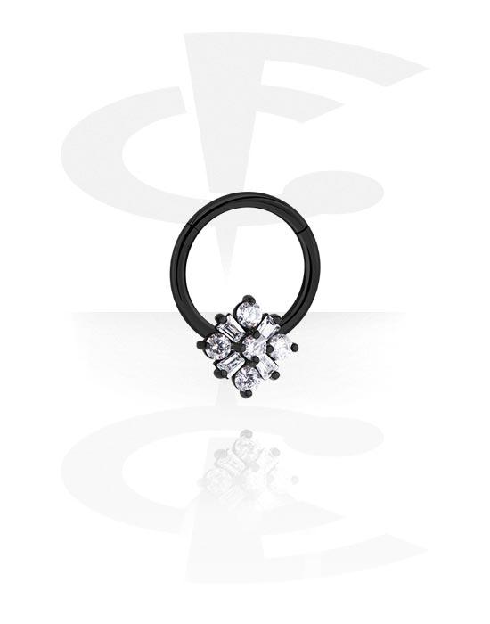 Renkaat, Monikäyttönipistin kanssa Flower ja crystal stones, Kirurginteräs 316L