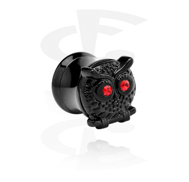 Tunely & plugy, Black Double flared tunnel with owl, Surgical Steel 316L