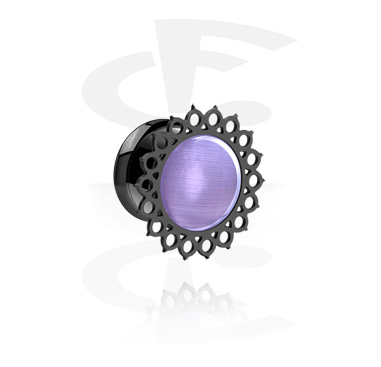 Tunnels & Plugs, Black Single Flared Tunnel with Mandala-Design, Surgical Steel 316L