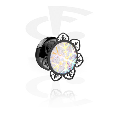 Tunnels & Plugs, Black Single Flared Tunnel with Snowflake Design, Surgical Steel 316L